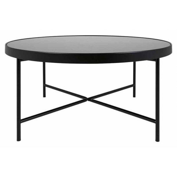 Molly - rundt sofabord sort - med hærdet glas - Ø. 83 cm