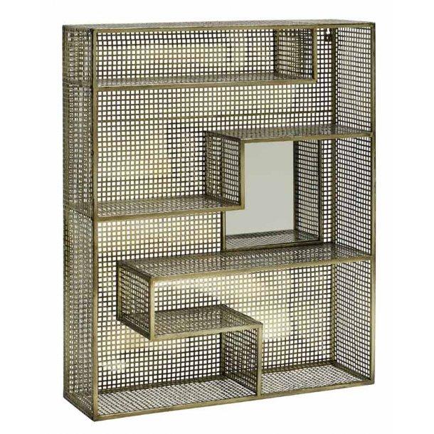 Nordal - metal reol guld - med spejl