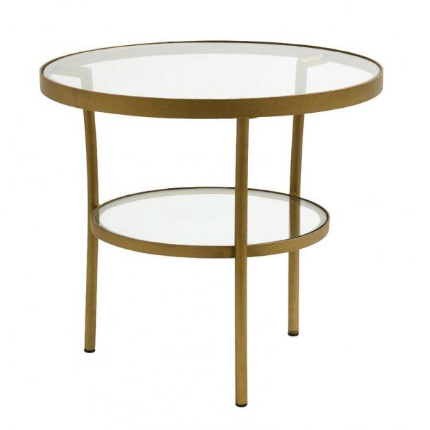Rundt sofabord med glas - metalstel