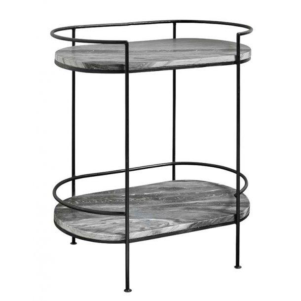 Ovalt bakkebord / sidebord i sort marmor med metalstel