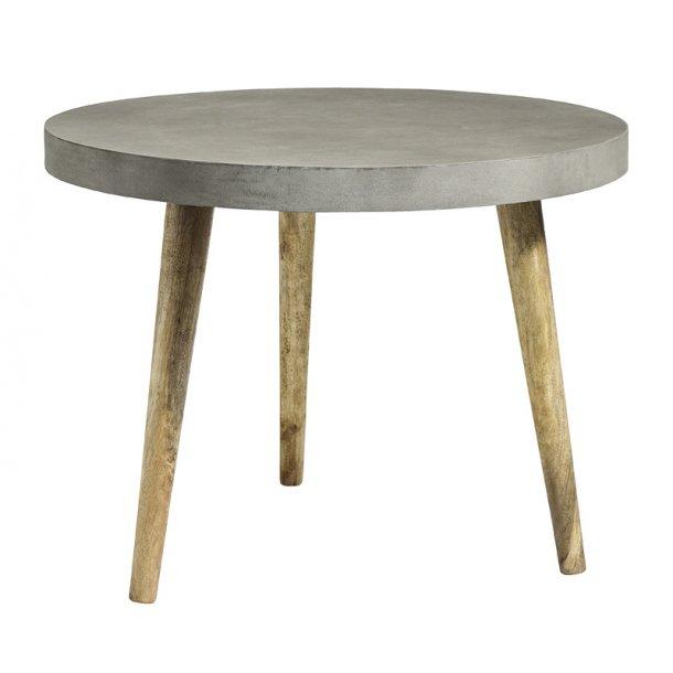 Rundt spisebord - beton belægning - træben - Ø.100 cm