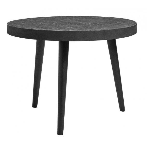 Rundt spisebord - beton belægning - sort - Ø.100 cm