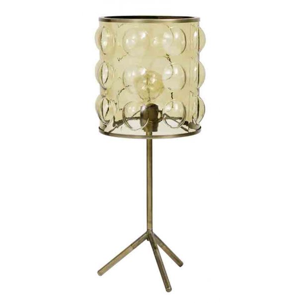 FLOOR bordlampe, med brunt glas - messing