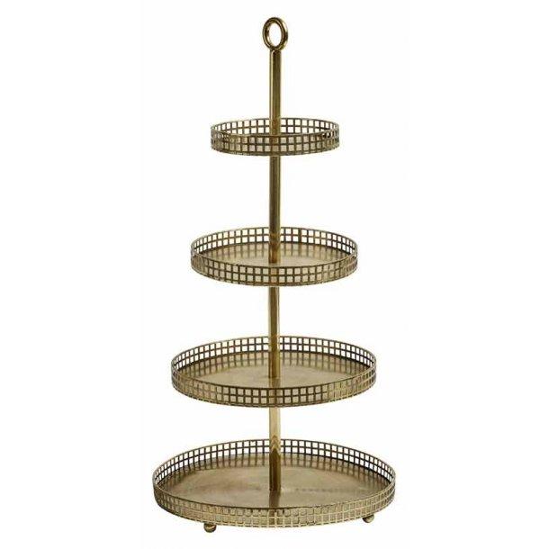 Etagere med 4 bakker - gylden - metal