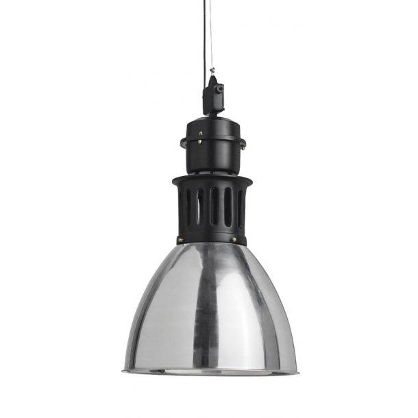 Stor industrilampe med sølv finish - industrilampe fra Nordal