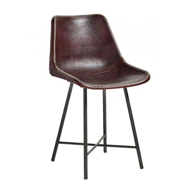Læder stol med sorte ben - mørk brun