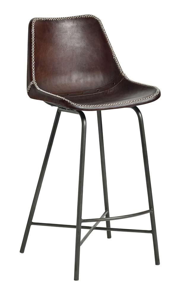 Image of   Bar stol læder med sorte ben - mørk brun