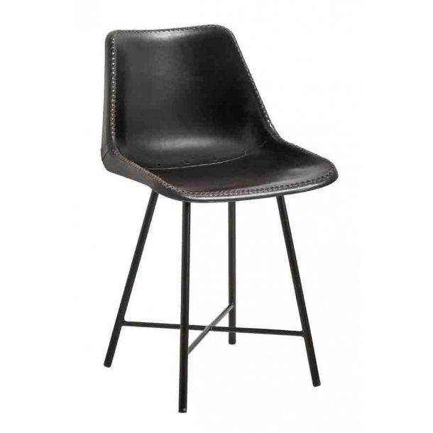 Læder stol sort - sorte metal ben
