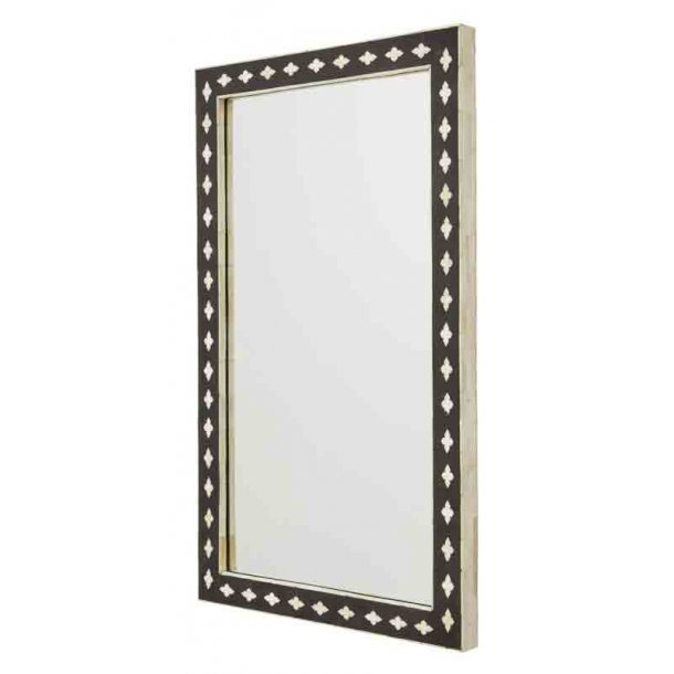 Nordal spejl - Bone - sort /hvid - H.80 cm