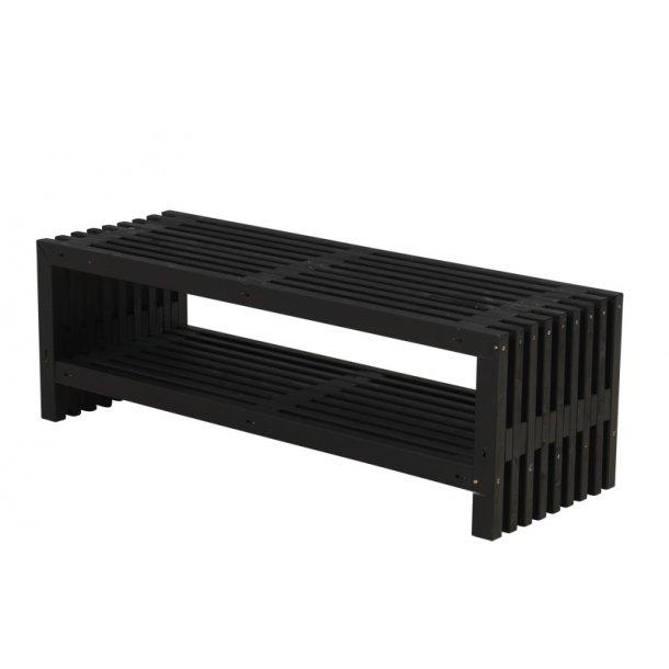 Rustik Trallebænk m/hylde - sort.- 138 cm