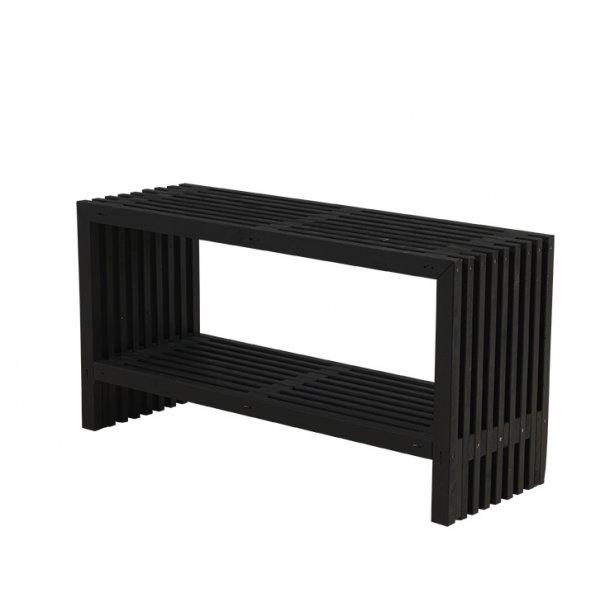 Rustik Trallebord design m/hylde - sort -138 cm