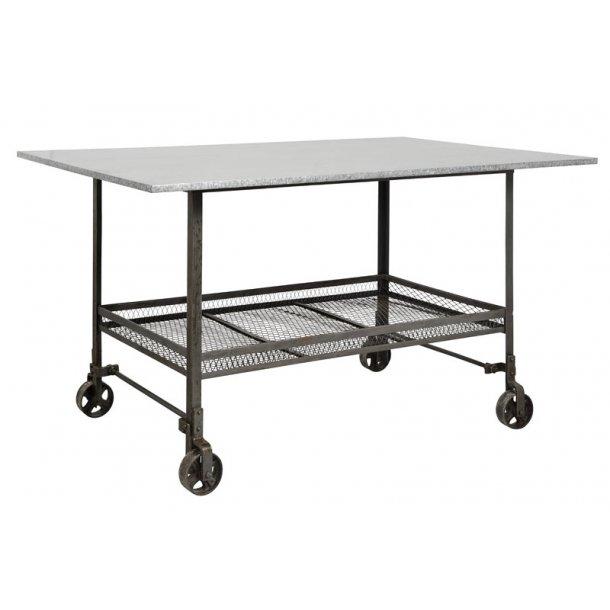 Nordal - industriel bord - rå jern - med hjul