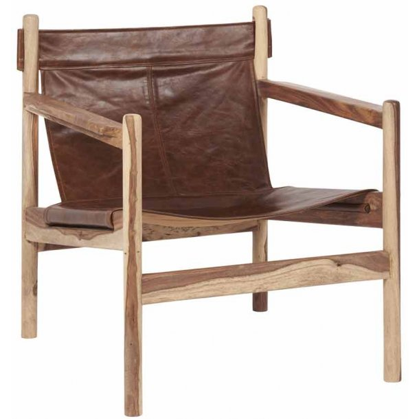 Lænestol i sheesham træ - bøffellæder