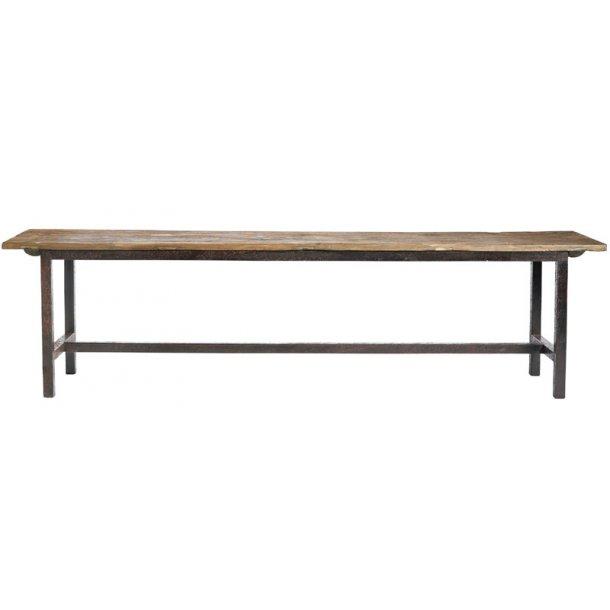 Raw bænk med rå træplanker / metalben - 170 cm