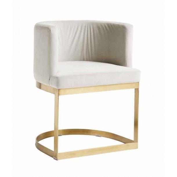 Lounge stol med gylden stel - creme hvid