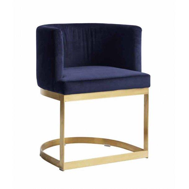 Lounge stol med gylden stel - blå