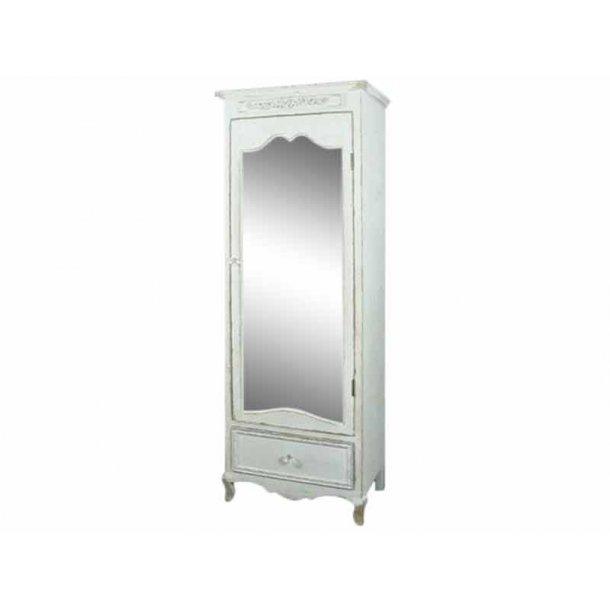Fransk skab med spejl - antique hvid