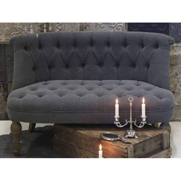 Fransk sofa 2 pers. med grå hørstof - Chic antique