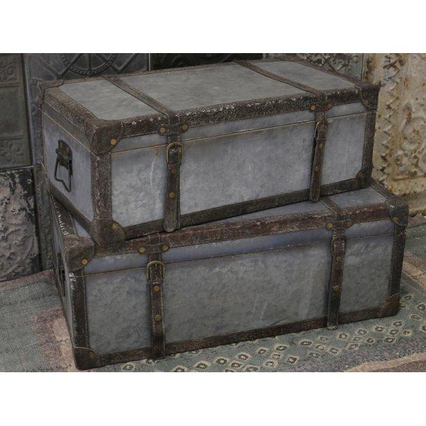 Vintage kuffert - antik zink - m/læderlook