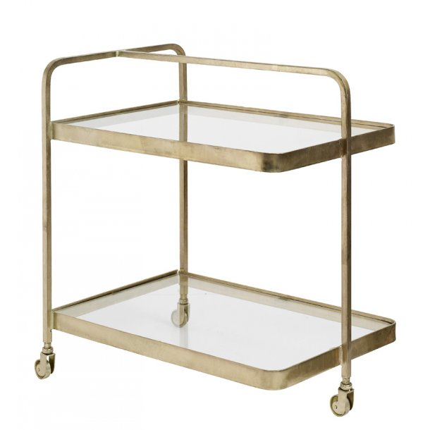 Nordal bakkebord / rullebord - gylden - med glashylder