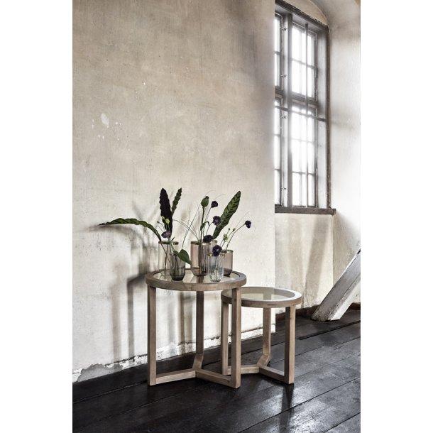 NATURAL - sofaborde med træ / glas - sæt m/2 stk