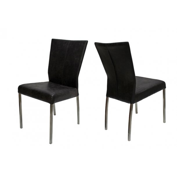 Spisebordsstol med sort mikrofiber - stål ben