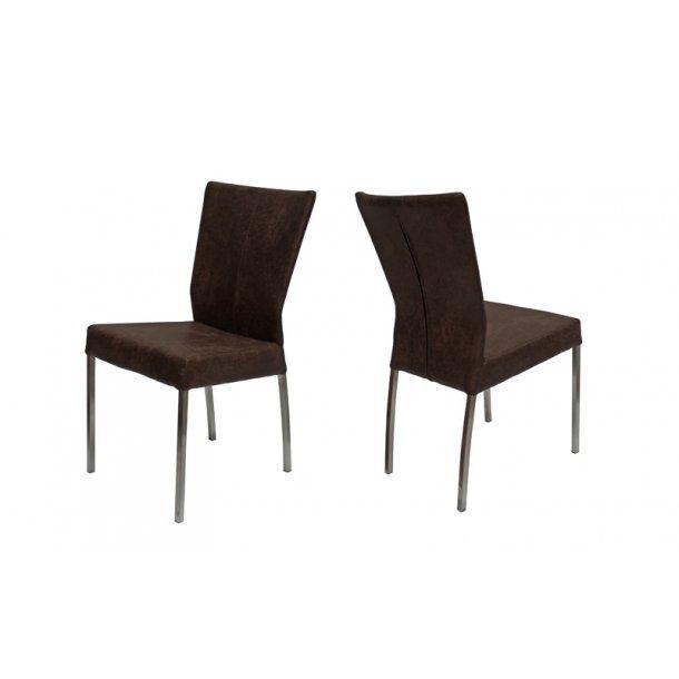 Spisebordsstol med mørkebrun mikrofiber - stål ben