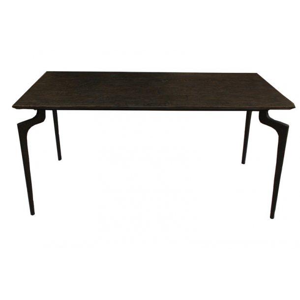 Spisebord med metalben - mørkebrun - 160 cm