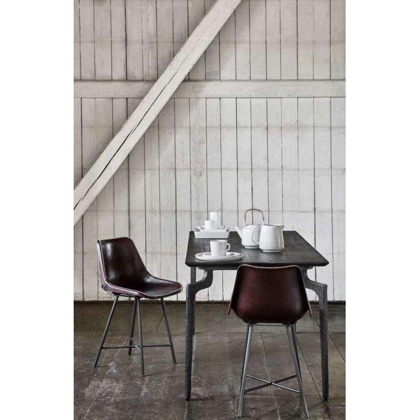 Spisebord med metalben - mørkebrun - 200 cm