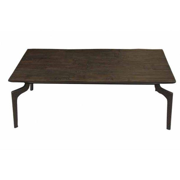 Sofabord i mørkt træ med metal ben