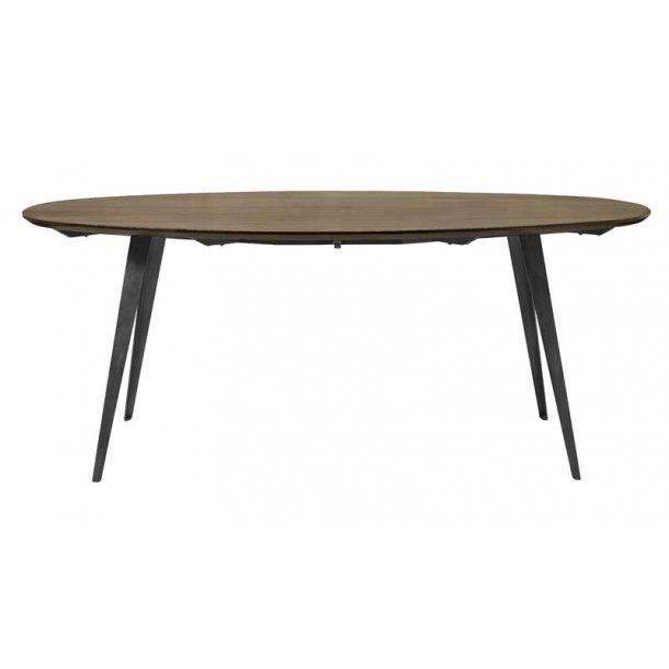 Ovalt spisebord med mørk bejdset bordplade - sorte ben