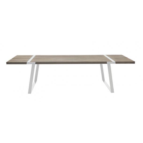 Spisebord massiv hvid olieret vild eg - hvid stel - 240 cm