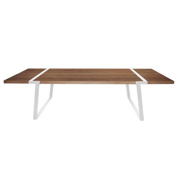 Spisebord neutral olieret vild eg - hvid stel - 290 cm