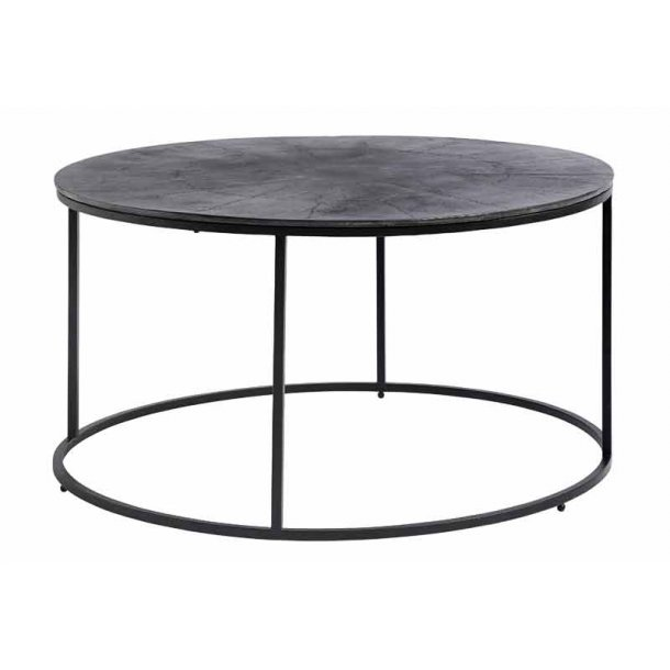 Sofabord - rundt - sort metalstel - oxideret