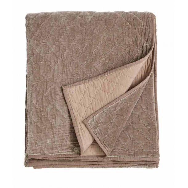 Nordal sengetæppe velour - sand - 220 x270 cm