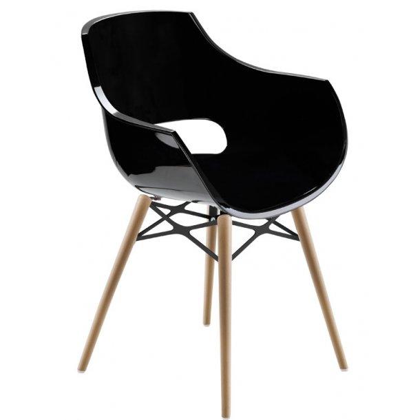 Opal wox spisebordsstol plast / træ - sort