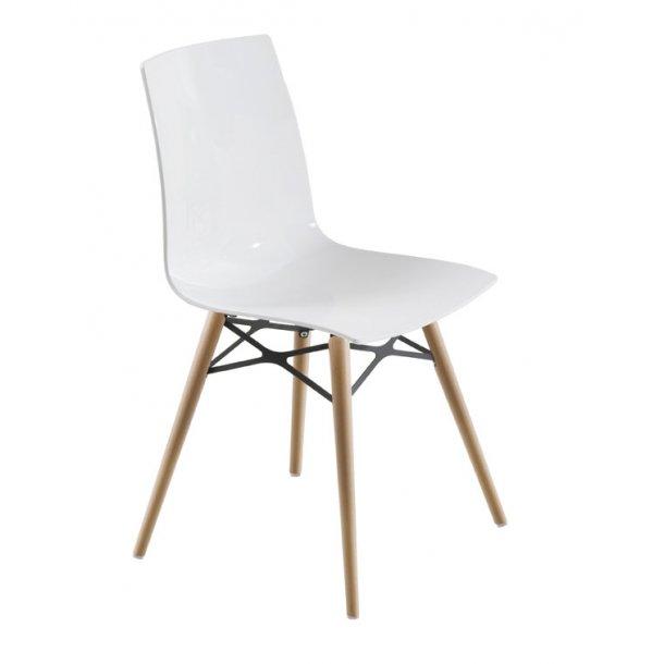 spisebordsstol X-treme plast / træ - hvid