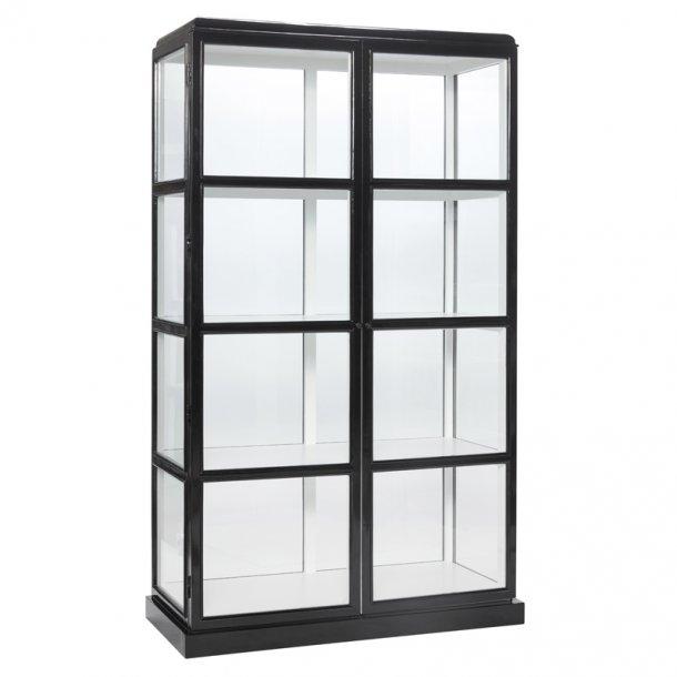 Sort vitrineskab fra Hübsch - designet med glas hele vejen rundt