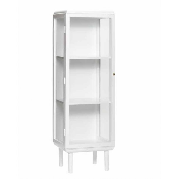 Skab med glas - hvid - H. 160 cm