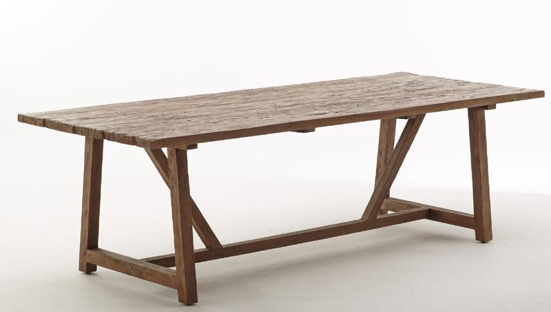 Teak spisebord / langbord - genbrugsteak - 240cm - rustikt langbord
