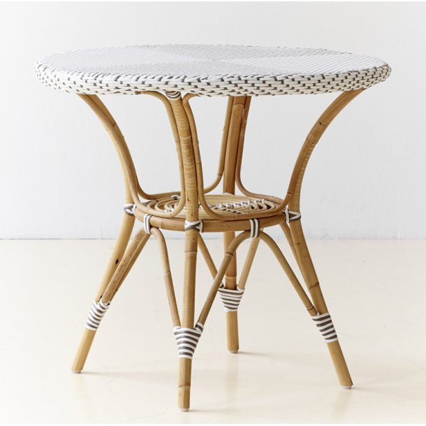 Cafe bord Rattan - hvid - Ø80 cm