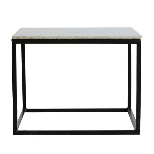 Sofabord sort stel - hvid marmor- 60x60 cm