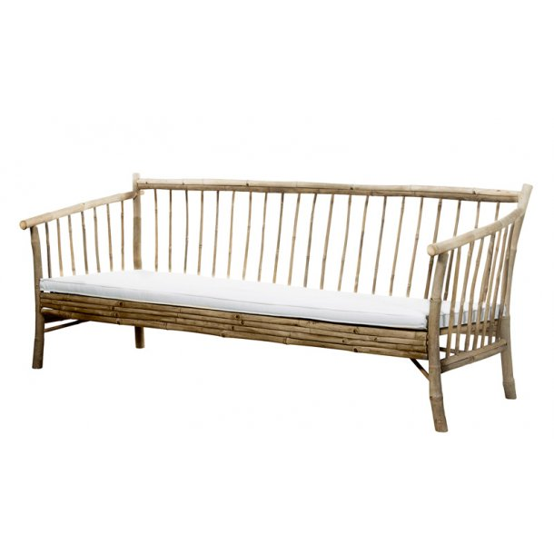Lounge sofa bambus - med hvid hynde