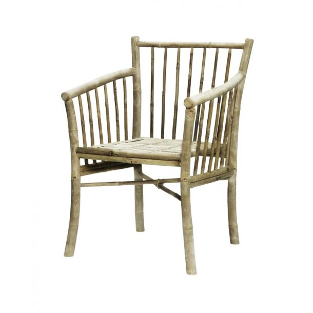 Bambus stol med armlæn - natur