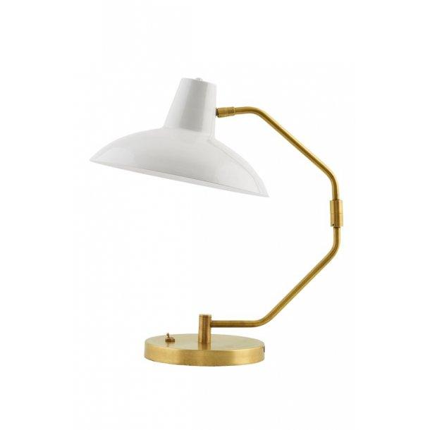 Bordlampe DESK - messing med mat grå skærm