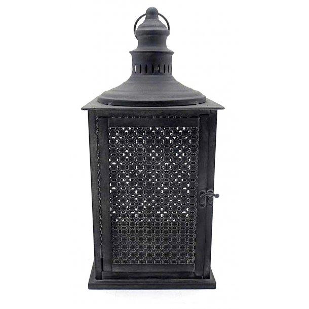 Lanterne med mønster sort - 46,5 cm