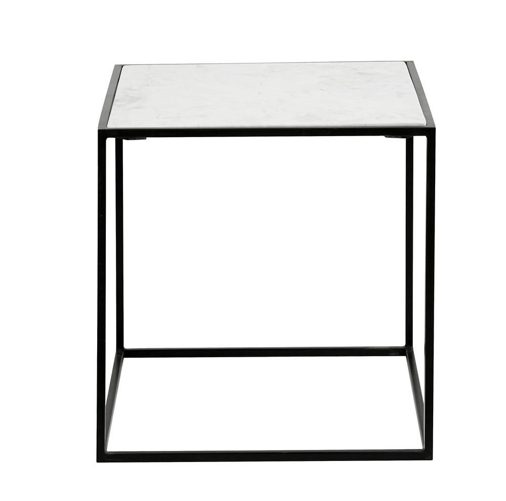 Billede af Nordal CUBE sidebord i jern m/marmor sort/hvid - 55