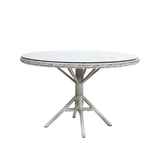 Rundt havebord hvid med glasplade - Ø. 120 cm - Sika Design