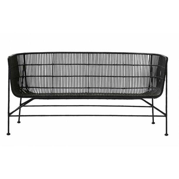 Sofa Cuun med armlæn rattan - sort