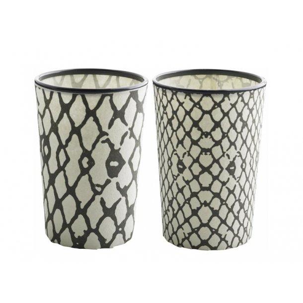 Fyrfadsglas med snake print - smoke - 2 ass. mønster